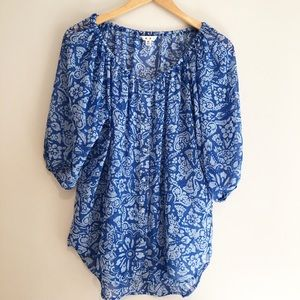 CABi blue floral sheer button down blouse